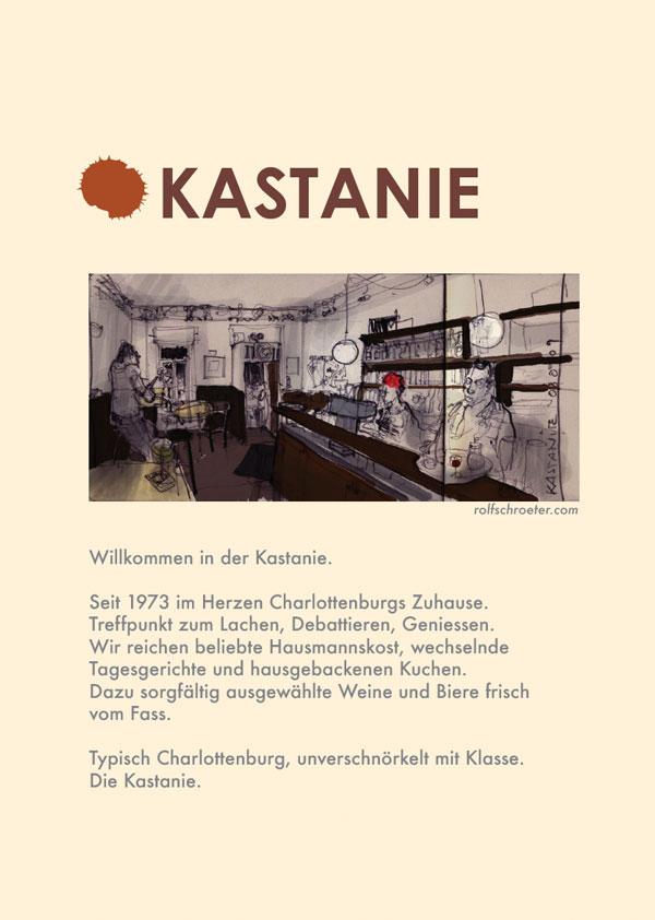 Titelseite der Speisekarte – Gasthaus Kastanie Berlin Charlottenburg
