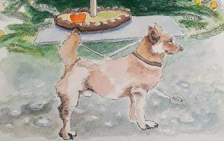 Ausschnitt aus Flora Drins Aquarell vom Kneipenhund Xiao Hu Li des Gasthauses Kastanie, Berlin Charlottenburg