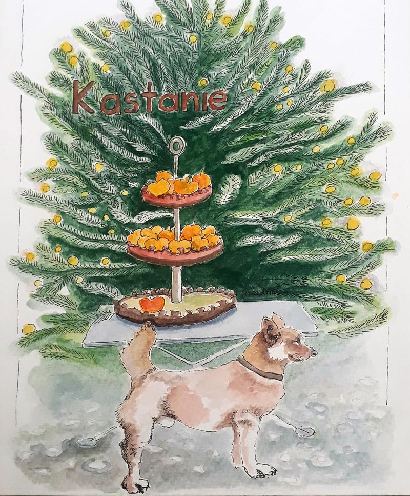 Flora Drins Aquarell vom Kneipenhund Xiao Hu Li des Gasthauses Kastanie, Berlin Charlottenburg
